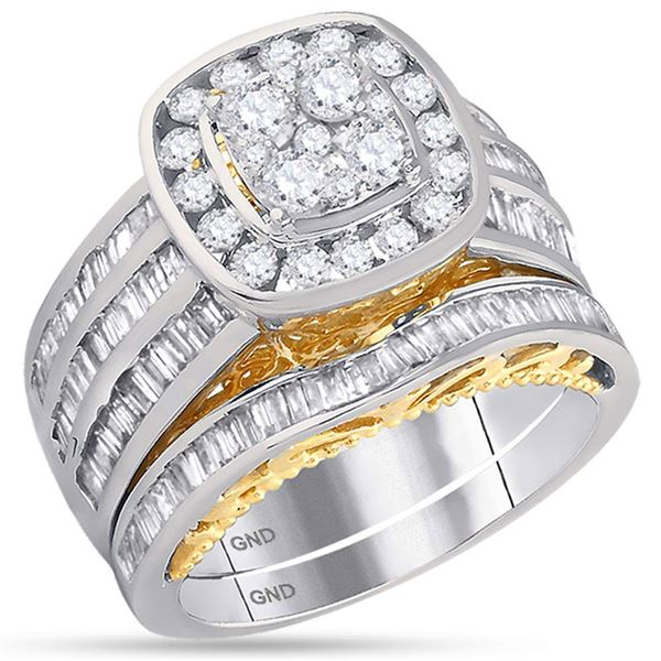 Diamond Cluster Bridal Wedding Ring Band Set 1-3/4 Cttw 14KT Two-tone Gold