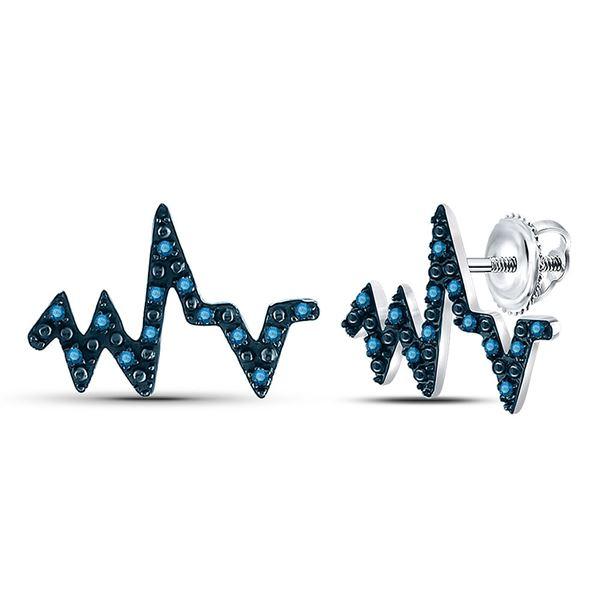 Blue Color Enhanced Diamond Heartbeat Earrings 1/12 Cttw 10kt White Gold