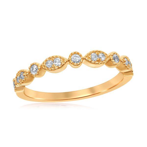Diamond Milgrain Stackable Band Ring 1/6 Cttw 14kt Yellow Gold