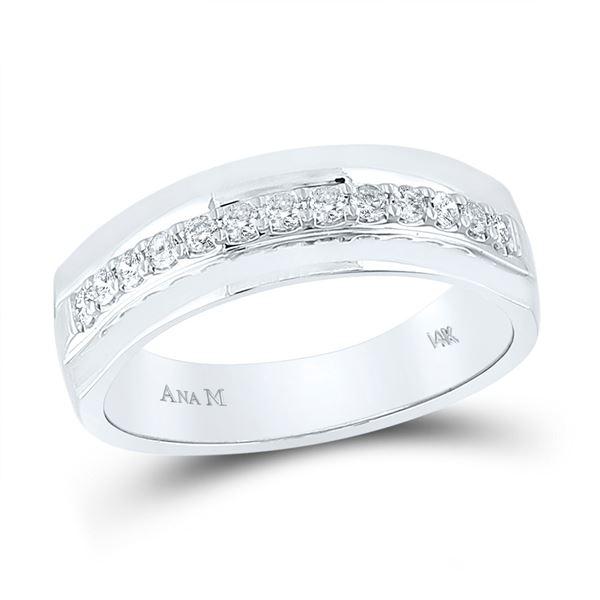 Mens Diamond Wedding Single Row Band Ring 1/3 Cttw 14kt White Gold