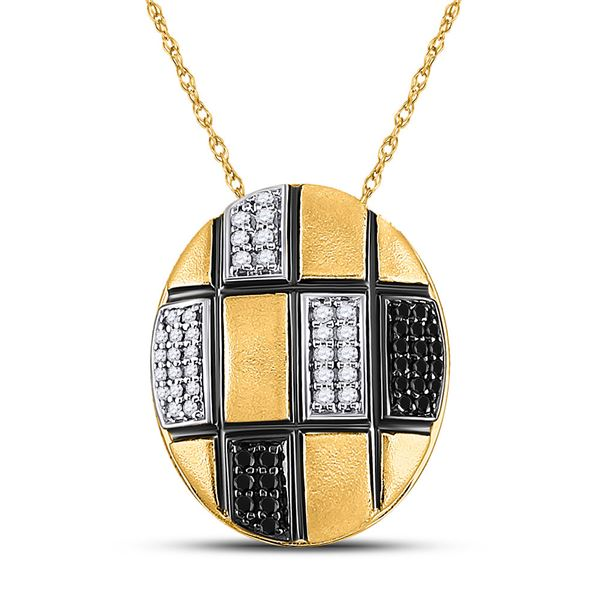 Black Color Enhanced Diamond Oval Necklace 1/4 Cttw 14kt Yellow Gold