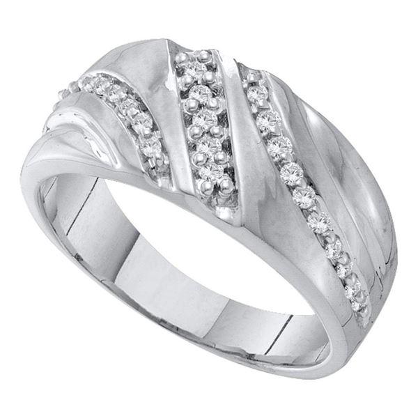 Mens Diamond Band Ring 1/4 Cttw 10kt White Gold