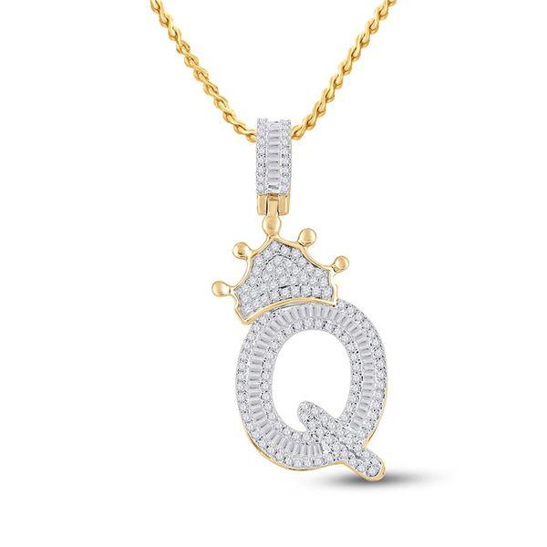 Mens Baguette Diamond Crown Q Letter Charm Pendant 3/4 Cttw 10kt Yellow Gold