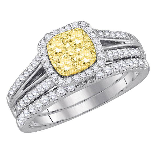 Yellow Diamond Bridal Wedding Ring Band Set 1 Cttw 14kt White Gold