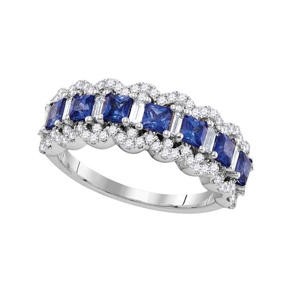 Princess Blue Sapphire Band Ring 1-3/4 Cttw 18kt White Gold