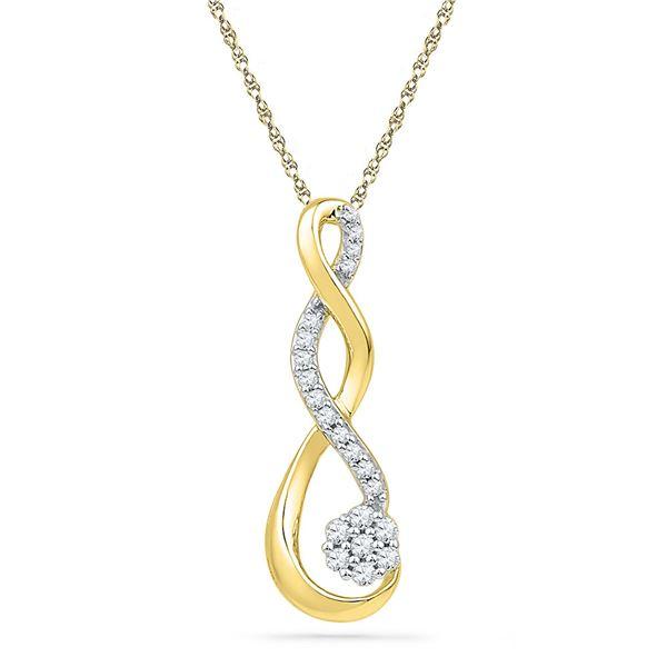 Diamond Infinity Cluster Pendant 1/6 Cttw 10kt Yellow Gold