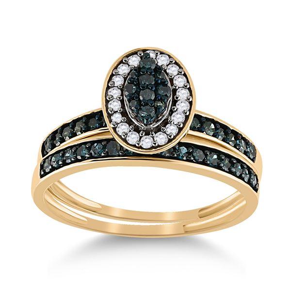 Blue Color Enhanced Diamond Bridal Wedding Ring Band Set 1/2 Cttw 10kt Yellow Gold