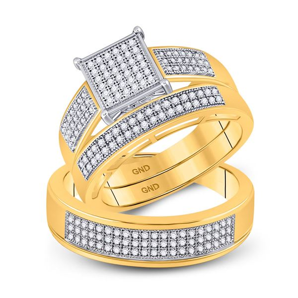 His Hers Diamond Square Matching Wedding Set 5/8 Cttw 10kt Yellow Gold