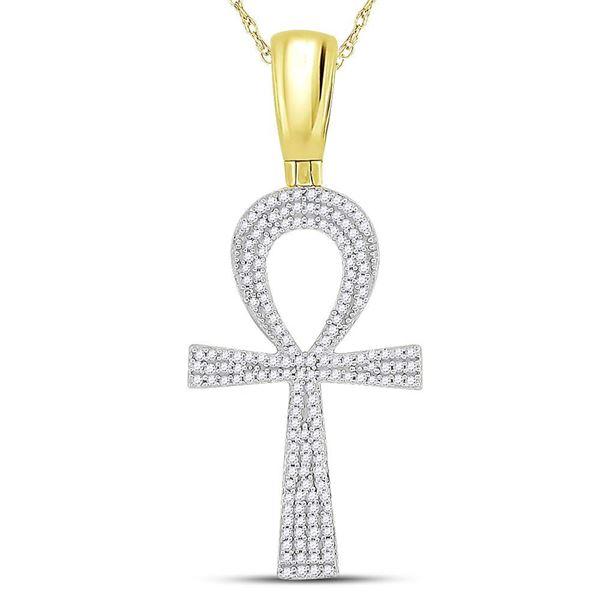 Mens Diamond Ankh Cross Charm Pendant 1/2 Cttw 10kt Yellow Gold