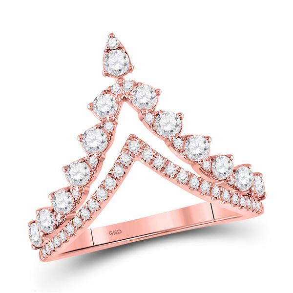 Diamond Chevron Band Ring 3/4 Cttw 14kt Rose Gold