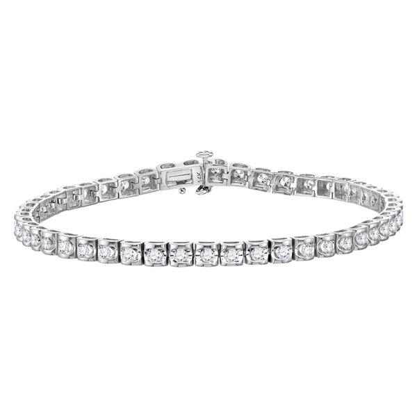 Diamond Studded Tennis Bracelet 1-1/2 Cttw 14kt White Gold