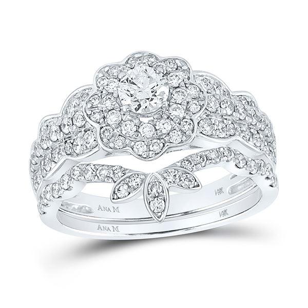 Diamond Bridal Wedding Ring Band Set 1-1/4 Cttw 14kt White Gold