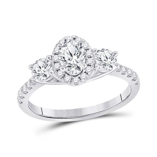 Oval Diamond 3-stone Bridal Wedding Engagement Ring 1-1/5 Cttw 14kt White Gold