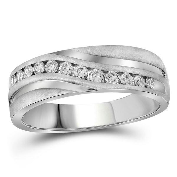 Mens Diamond Wedding Band Ring 1 Cttw 10kt White Gold
