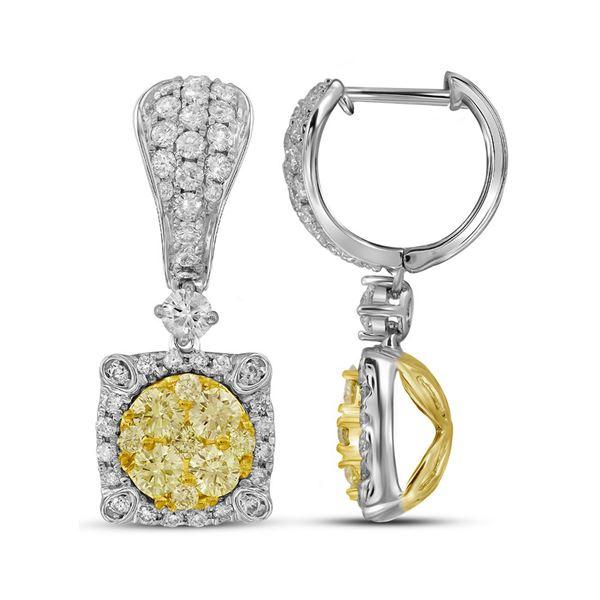 Yellow Diamond Square Dangle Earrings 1-5/8 Cttw 14kt White Gold