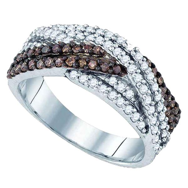 Brown Diamond Crossover Band Ring 3/4 Cttw Sterling Silver