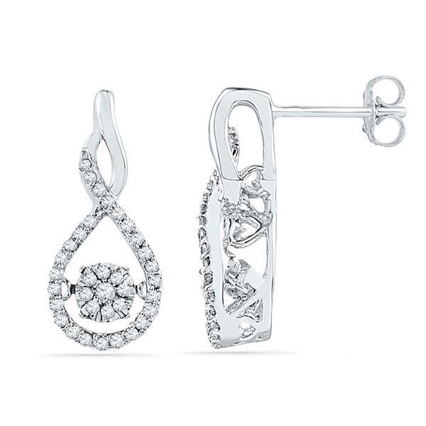 Diamond Moving Cluster Earrings 1/3 Cttw 10kt White Gold