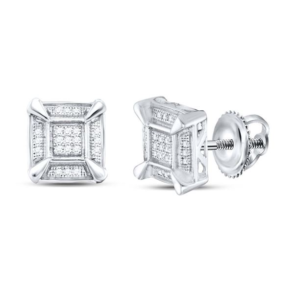 Sterling Silver Mens Diamond Square Cluster Stud Earrings 1/8 Cttw Sterling Silver