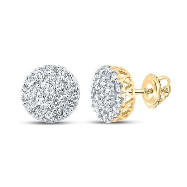 Mens Diamond Cluster Earrings 1 Cttw 10kt Yellow Gold