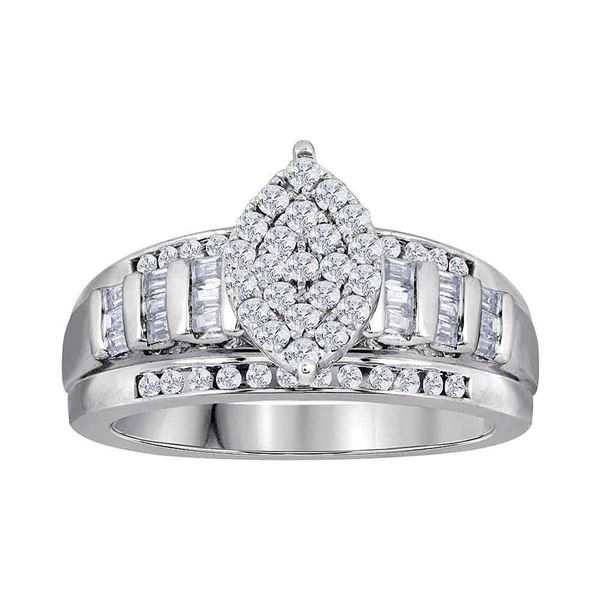 Diamond Oval Cluster Bridal Wedding Engagement Ring 3 Cttw 10kt White Gold