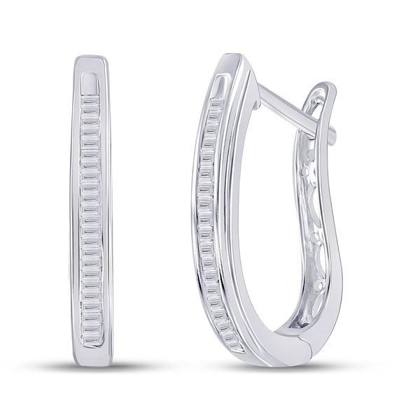 Oblong Hoop Earrings 1/4 Cttw Sterling Silver