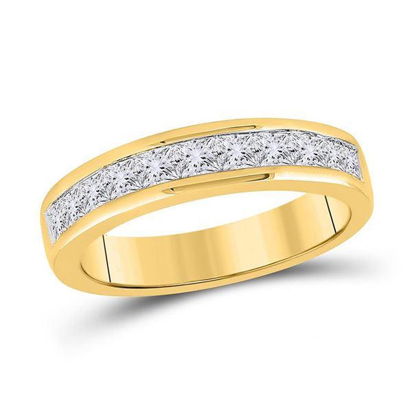 Princess Channel-set Diamond Single Row Wedding Band 1 Cttw 14kt Yellow Gold