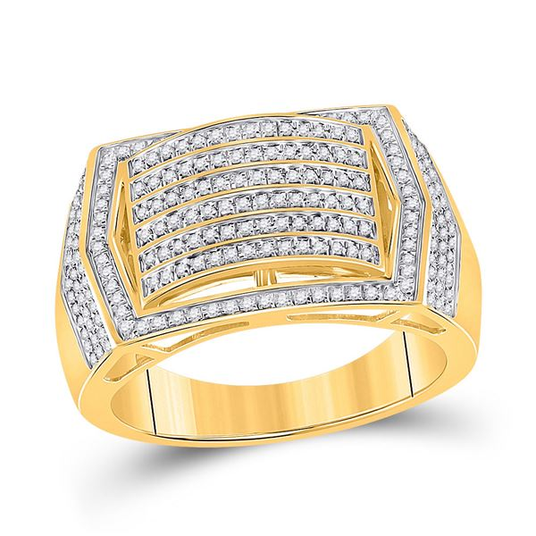 Mens Diamond Cluster Ring 5/8 Cttw 10kt Yellow Gold