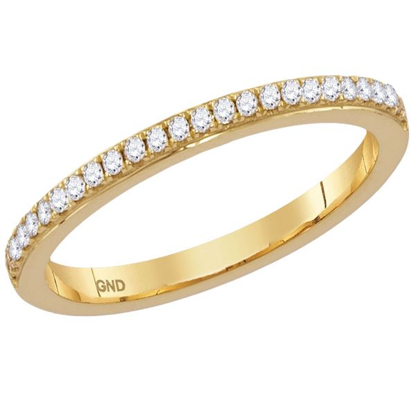 Diamond Single Row Stackable Band Ring 1/8 Cttw 14kt Yellow Gold