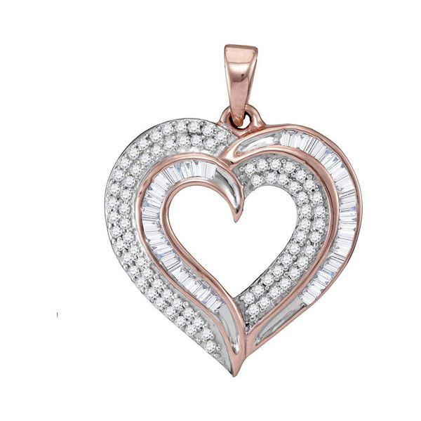 Baguette Diamond Heart Pendant 3/8 Cttw 10kt Rose Gold