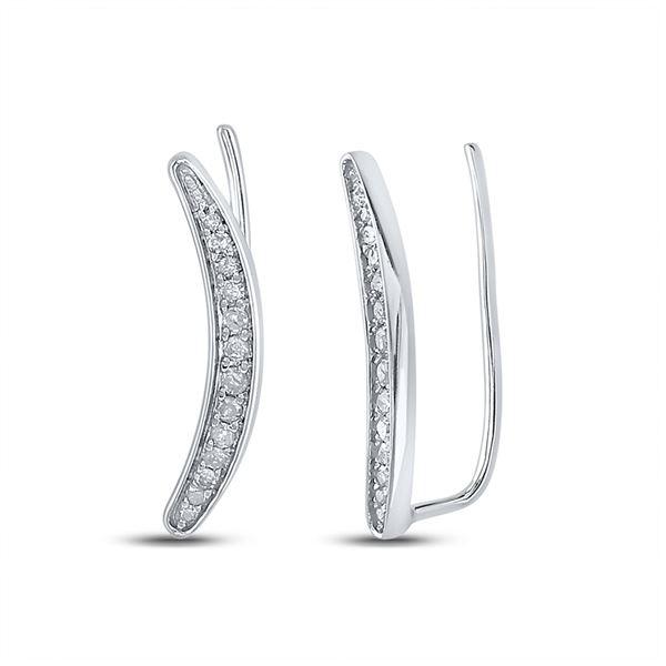 Diamond Climber Earrings 1/5 Cttw Sterling Silver