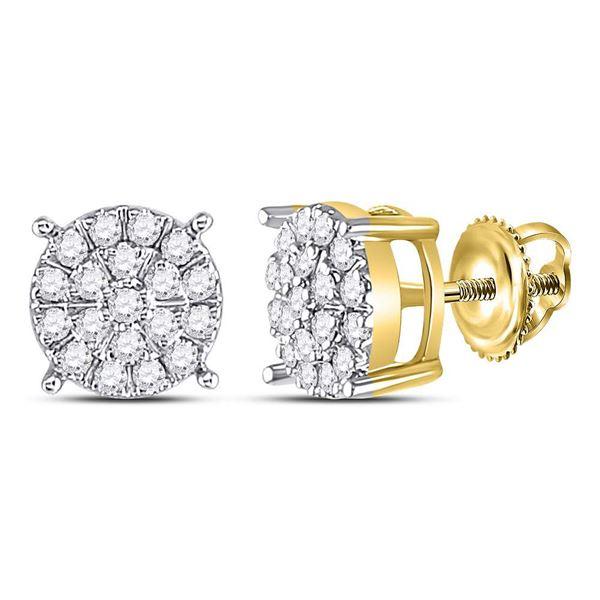 Diamond Cluster Earrings 3/8 Cttw 10kt Yellow Gold