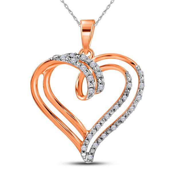 Diamond Heart Pendant 1/10 Cttw 10kt Rose Gold
