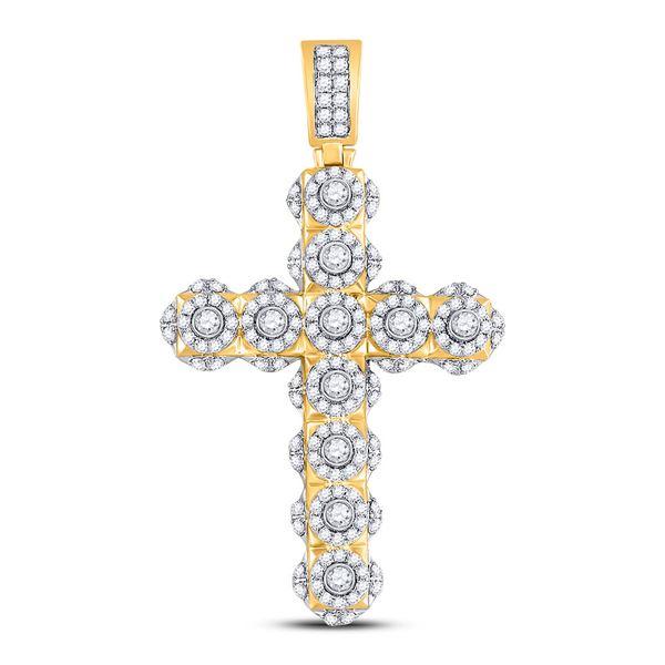Mens Diamond Studded Charm Pendant 2 Cttw 14kt Yellow Gold