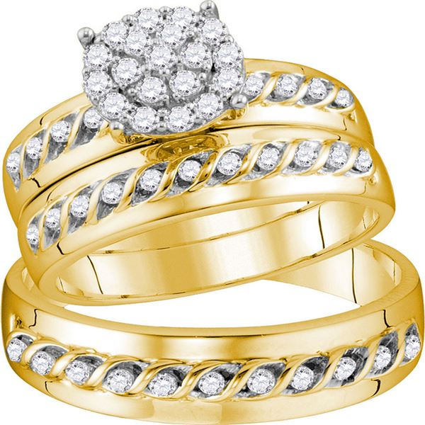 His Hers Diamond Cluster Matching Wedding Set 3/4 Cttw 10kt Yellow Gold