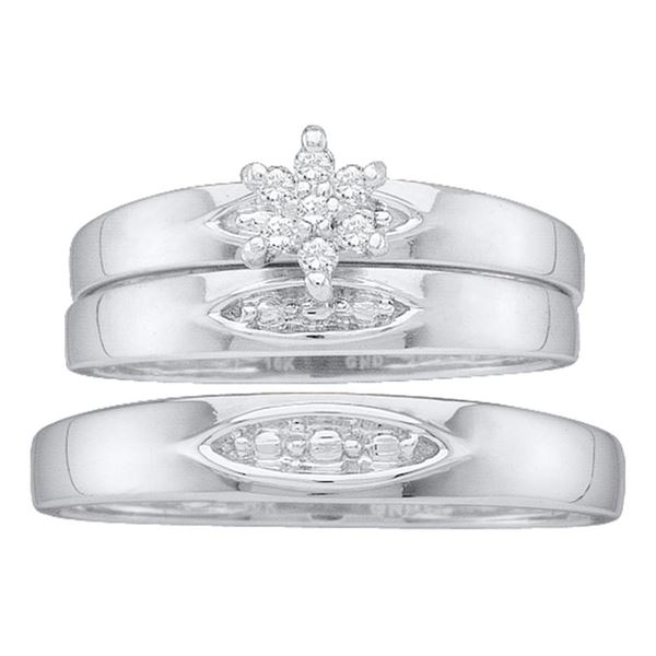His Hers Diamond Cluster Matching Wedding Set 1/12 Cttw 10kt White Gold