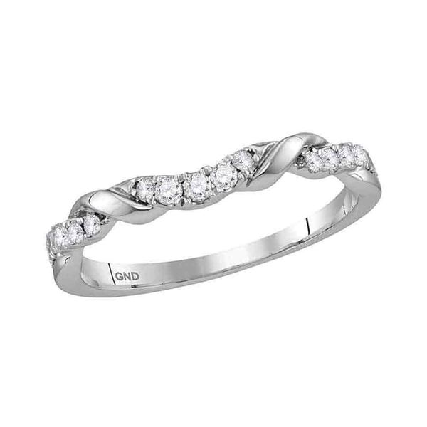 Diamond Stackable Band Ring 1/5 Cttw 10kt White Gold