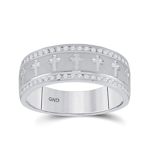 Mens Diamond Wedding Cross Band Ring 1/4 Cttw 14kt White Gold