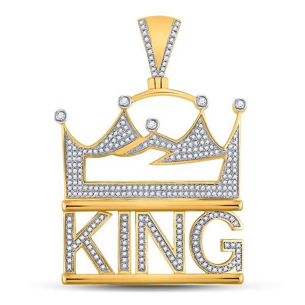 Mens Diamond King Charm Pendant 7/8 Cttw 10kt Yellow Gold