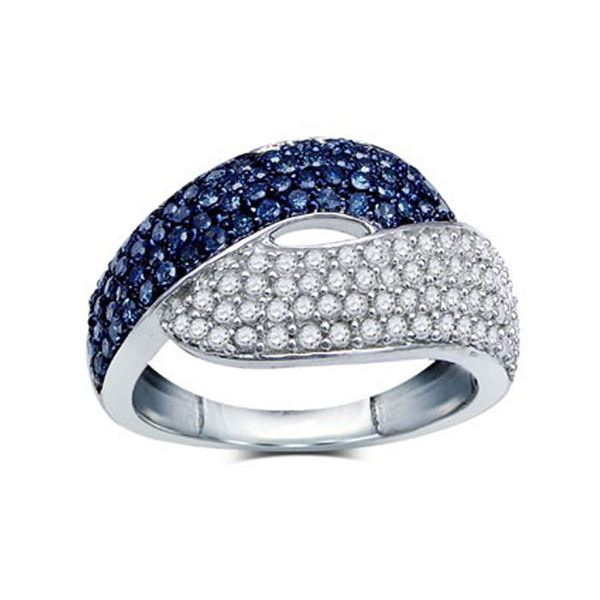 Blue Color Enhanced Diamond Fashion Ring 1 Cttw Sterling Silver