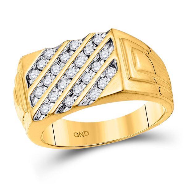 Mens Channel-set Diamond Diagonal Stripe Band Ring 1/2 Cttw 10kt Yellow Gold