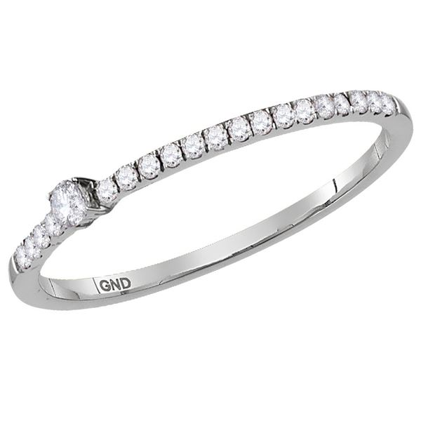 Diamond Stackable Band Ring 1/8 Cttw 14kt White Gold