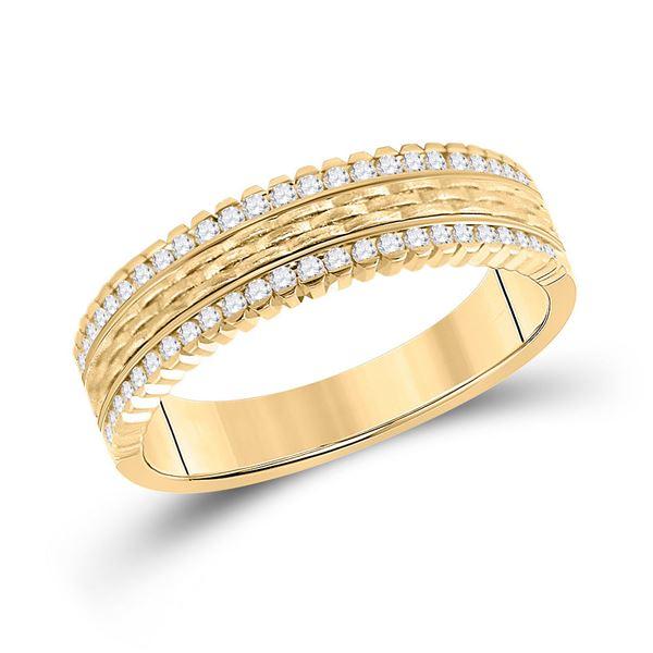 Mens Diamond Wedding Brick Inlay Band Ring 1/3 Cttw 14kt Yellow Gold