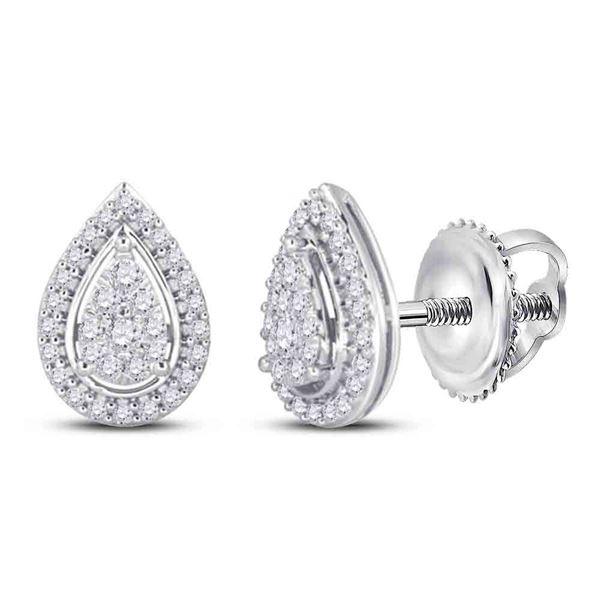 Diamond Teardrop Earrings 1/2 Cttw 14kt White Gold