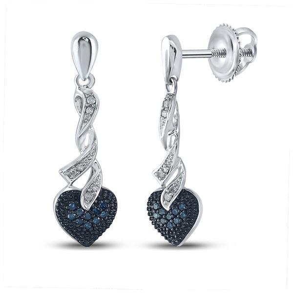 Blue Color Enhanced Diamond Heart Dangle Earrings 1/5 Cttw Sterling Silver