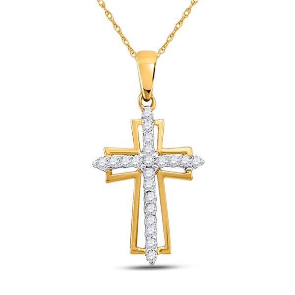 Diamond Cross Outline Religious Pendant 1/4 Cttw 10kt Yellow Gold