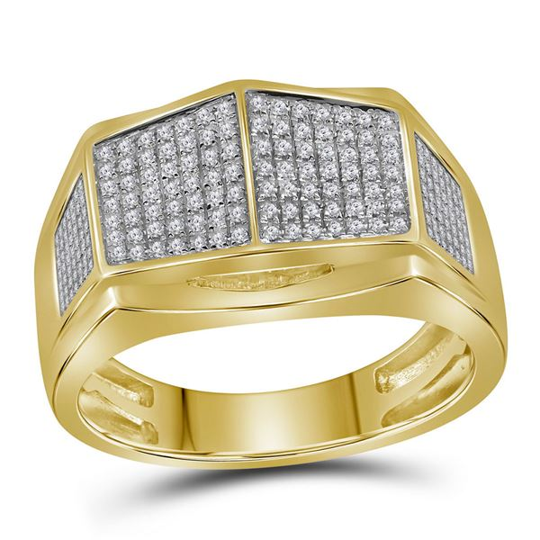 Mens Diamond Symmetrical Arched Square Cluster Ring 1/3 Cttw 10kt Yellow Gold