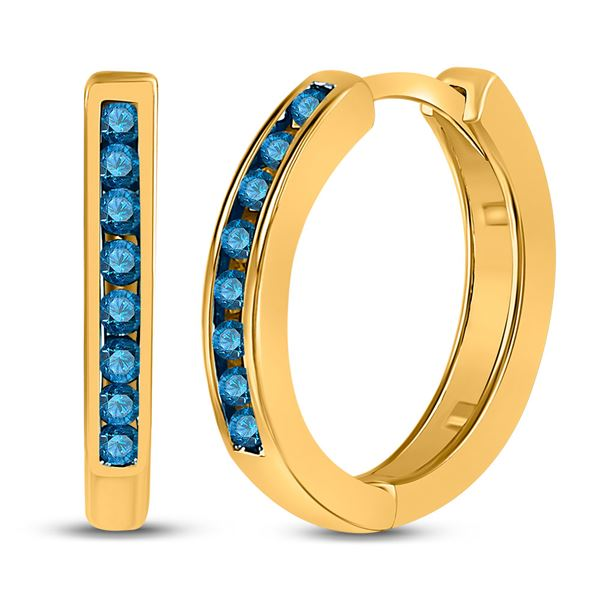 Blue Color Enhanced Diamond Hoop Earrings 1/4 Cttw 10kt Yellow Gold