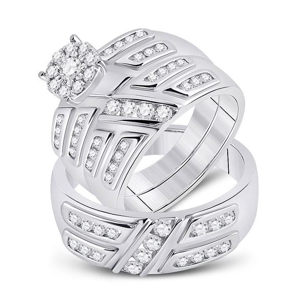His Hers Diamond Solitaire Matching Wedding Set 1 Cttw 10kt White Gold