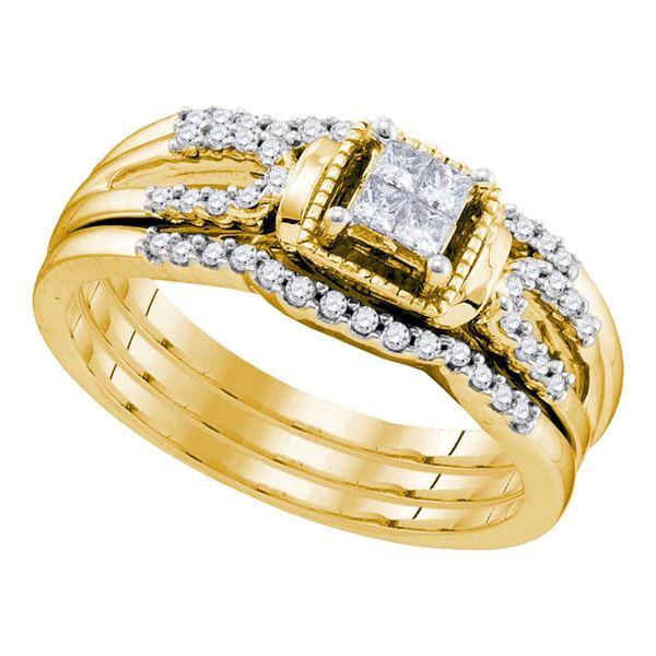 Princess Diamond Bridal Wedding Ring Band Set 1/4 Cttw 10kt Yellow Gold