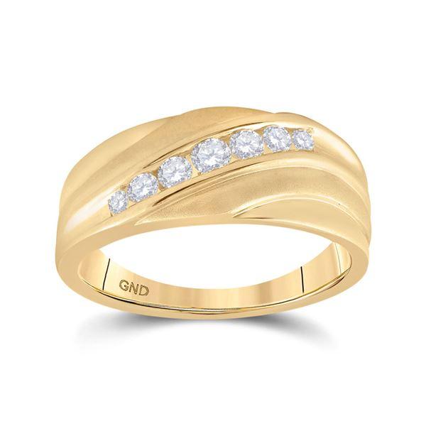 Mens Diamond Diagonal Wedding Band Ring 1/2 Cttw 10kt Yellow Gold